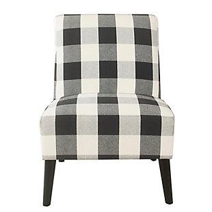 HomePop Modern Armless Accent Chair - Black Plaid, Black, rollover