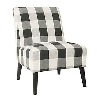 HomePop Modern Armless Accent Chair - Black Plaid, Black, large