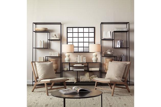Jamie Young Rectangular Black Metal Grid Mirror with Paned Beveled Glass, , large