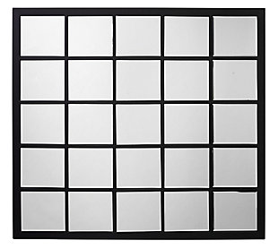 Jamie Young Rectangular Black Metal Grid Mirror with Paned Beveled Glass, , large
