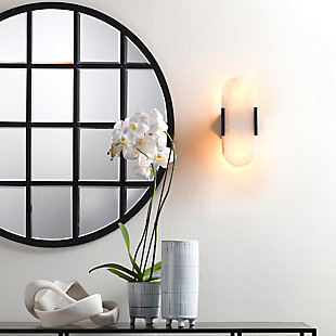Jamie Young Round Metal Grid Mirror with Paned Beveled Glass, , rollover