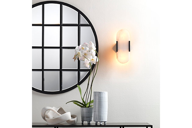 Jamie Young Round Metal Grid Mirror with Paned Beveled Glass, , large
