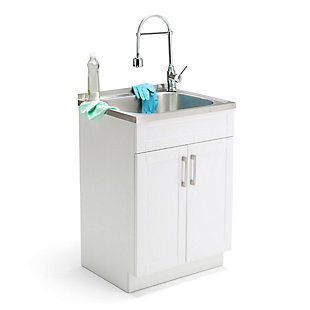 Simpli Home Hennessy Contemporary 24 inch Laundry Cabinet with Faucet and Stainless Steel Sink, , rollover