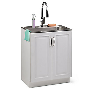 Simpli Home Darwin Transitional 28 inch Laundry Cabinet with Pull-out Faucet and Stainless Steel Sink, , rollover