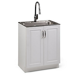 Simpli Home Darwin Transitional 28 inch Laundry Cabinet with Pull-out Faucet and Stainless Steel Sink, , large