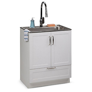 Simpli Home Reed Transitional 28 inch Laundry Cabinet with Pull-out Faucet and Stainless Steel Sink, , rollover