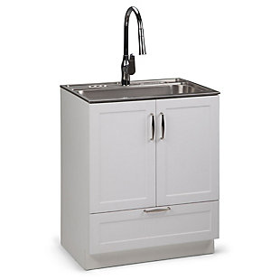 Simpli Home Reed Transitional 28 inch Laundry Cabinet with Pull-out Faucet and Stainless Steel Sink, , large