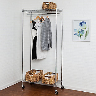 Honey Can Do Rolling Garment Rack with Single Hanging Bar, , large
