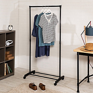 Honey Can Do Rolling Garment Rack with Single Hanging Bar, , rollover