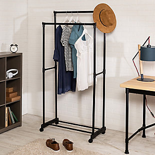Honey Can Do Rolling Garment Rack with Double Hanging Bars, , rollover