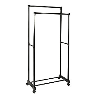 Honey Can Do Rolling Garment Rack with Double Hanging Bars, , large