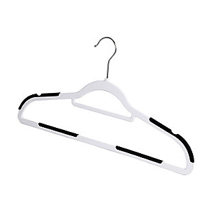 Honey Can Do Slim Plastic Hanger with Rubber Grips (Set of 50), White, rollover