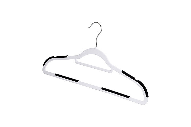 Honey Can Do Slim Plastic Hanger with Rubber Grips (Set of 50), White, large