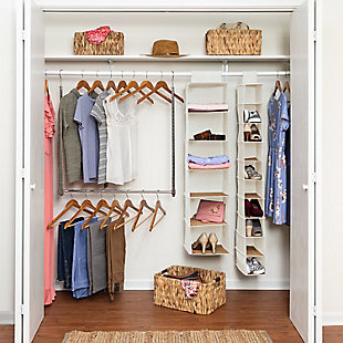Honey Can Do Bamboo & Seagrass Closet Organizer Kit, , large