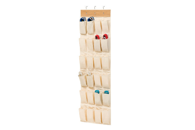 Honey Can Do 24 Pocket Bamboo Shoe Organizer, , large