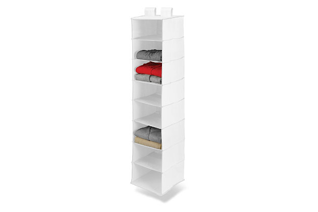 Honey Can Do Hanging Closet Organizer with Eight Shelves, White, large