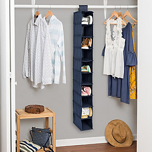 Honey Can Do Hanging Closet Organizer with Ten Shelves, Navy, rollover