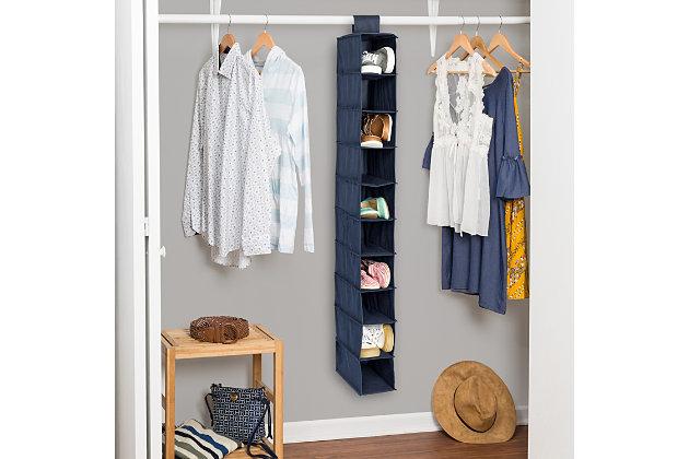 Honey Can Do Hanging Closet Organizer with Ten Shelves, Navy, large