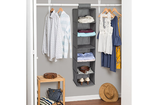 Honey Can Do Hanging Closet Organizer with Six Shelves, Gray, large