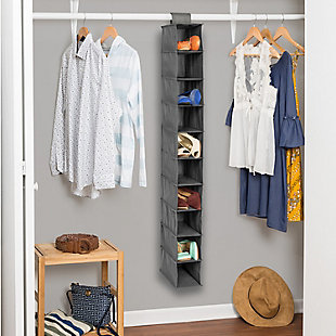 Honey Can Do Hanging Closet Organizer with Ten Shelves, Gray, large