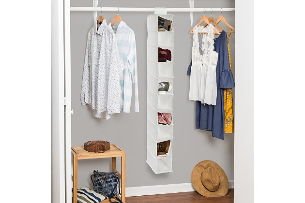 Honey Can Do Hanging Closet Organizer with Ten Shelves, White, large