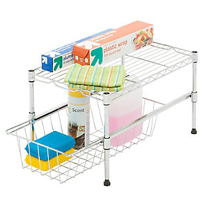 Honey Can Do Cabinet Organizer With Basket and Adjustable Shelf, , rollover