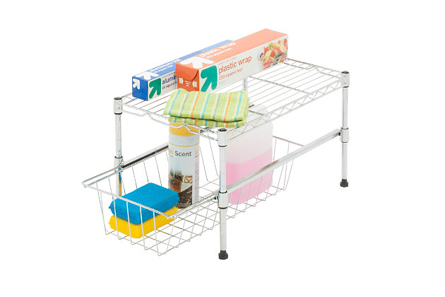 Honey Can Do Cabinet Organizer With Basket and Adjustable Shelf, , large