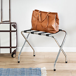 Honey Can Do Collapsible X-Frame Luggage Rack, Chrome, rollover