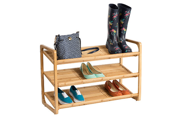 Honey Can Do Three Tier Bamboo Shoe Rack, , large