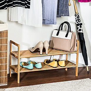Honey Can Do Two Tier Bamboo Shoe Rack, , rollover