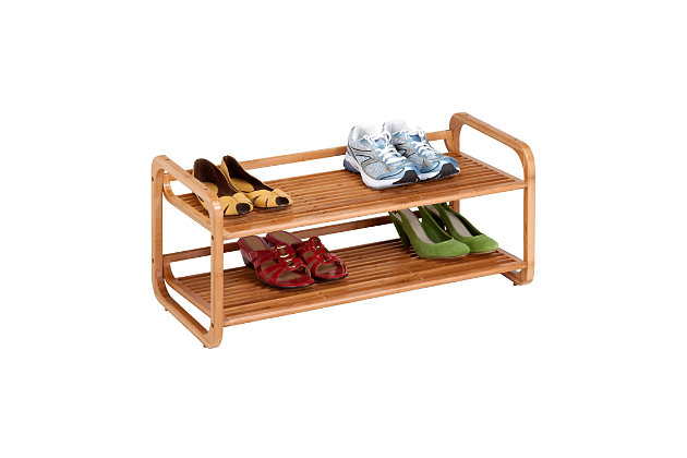 Honey Can Do Two Tier Bamboo Shoe Rack, , large