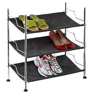 Honey Can Do Three Tier Canvas Shoe Rack, , rollover