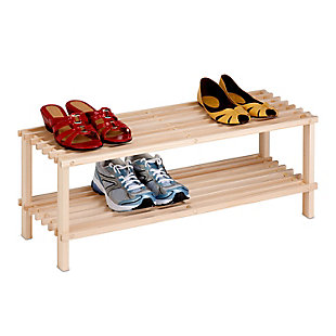 Honey Can Do Two Tier Shoe Rack, Beige, large