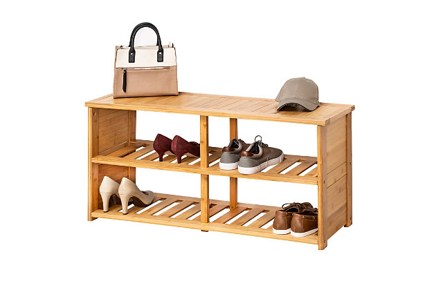 Honey Can Do Bamboo Shoe Bench, , large