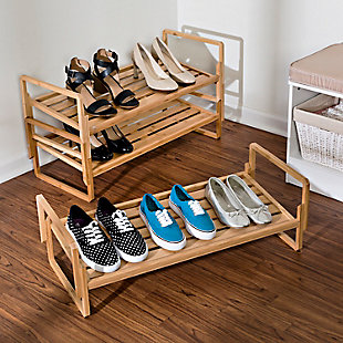 Honey Can Do Three Tier Bamboo Shoe Rack, , rollover