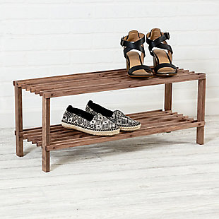 Honey Can Do Two Tier Shoe Rack, Brown/Beige, rollover