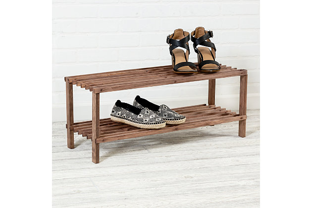 Honey Can Do Two Tier Shoe Rack, Brown/Beige, large