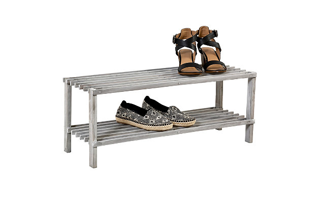 Honey Can Do Two Tier Shoe Rack, Gray, large