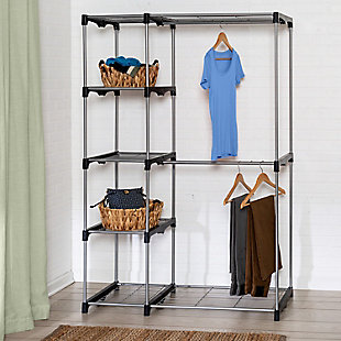 Honey Can Do Free Standing Double Rod Wardrobe with Shelves, , rollover