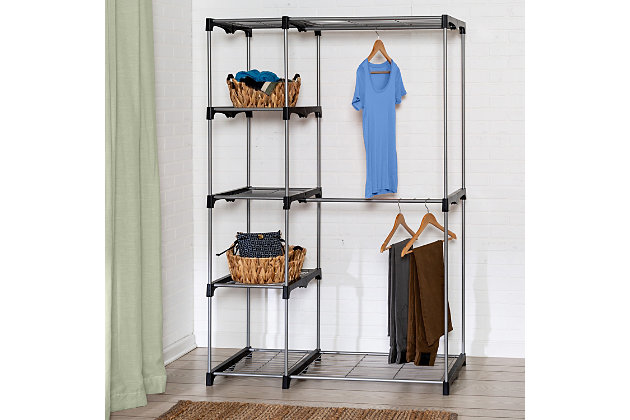 Honey Can Do Free Standing Double Rod Wardrobe with Shelves, , large