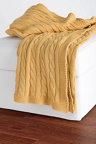 "Home Accent 50"" x 60"" Throw, Yellow, rollover"