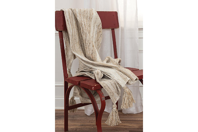 """Home Accent 50"""" x 60"""" Throw, Beige, large"""