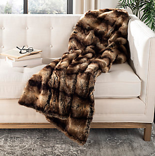 Safavieh Faux Luxe Brick Throw, Brown, rollover