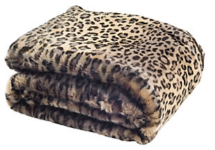 Safavieh Faux Black Leopard Throw, Brown, large