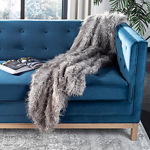 Safavieh Faux Luxe Peacock Throw, Gray, rollover