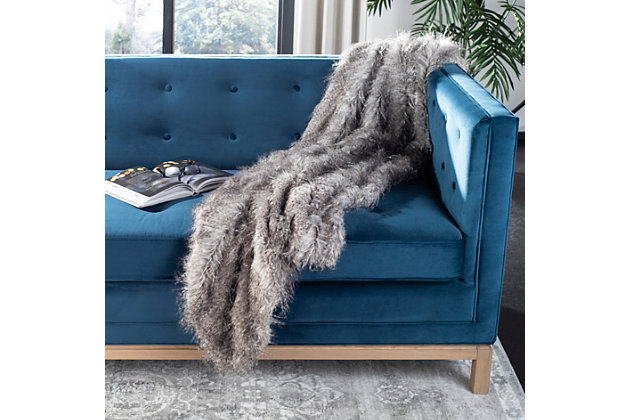 Safavieh Faux Luxe Peacock Throw, Gray, large