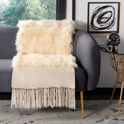 Safavieh Faux Fur Alexi 20 X 80 Bed Runner, Cream, large