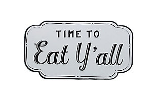 "Creative Co-Op 15.75""W Embossed ""Time to Eat Y'all"" Enameled Metal Wall Decor, , rollover"