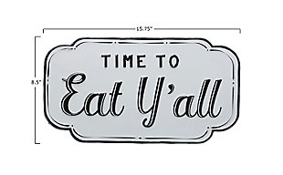 "Creative Co-Op 15.75""W Embossed ""Time to Eat Y'all"" Enameled Metal Wall Decor, , large"