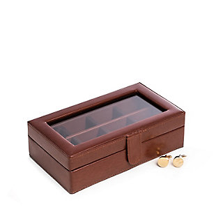 Bey-Berk Leather 12 Cufflink Box with Glass Top, , rollover